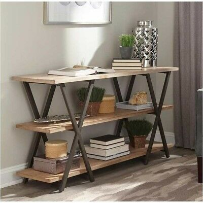 Fresh Style Home Furniture X-Base Metal Base Two-Tone Wood Top Console Table
