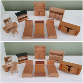 Wooden dolls house furniture bedroom dressing table miniature vintage