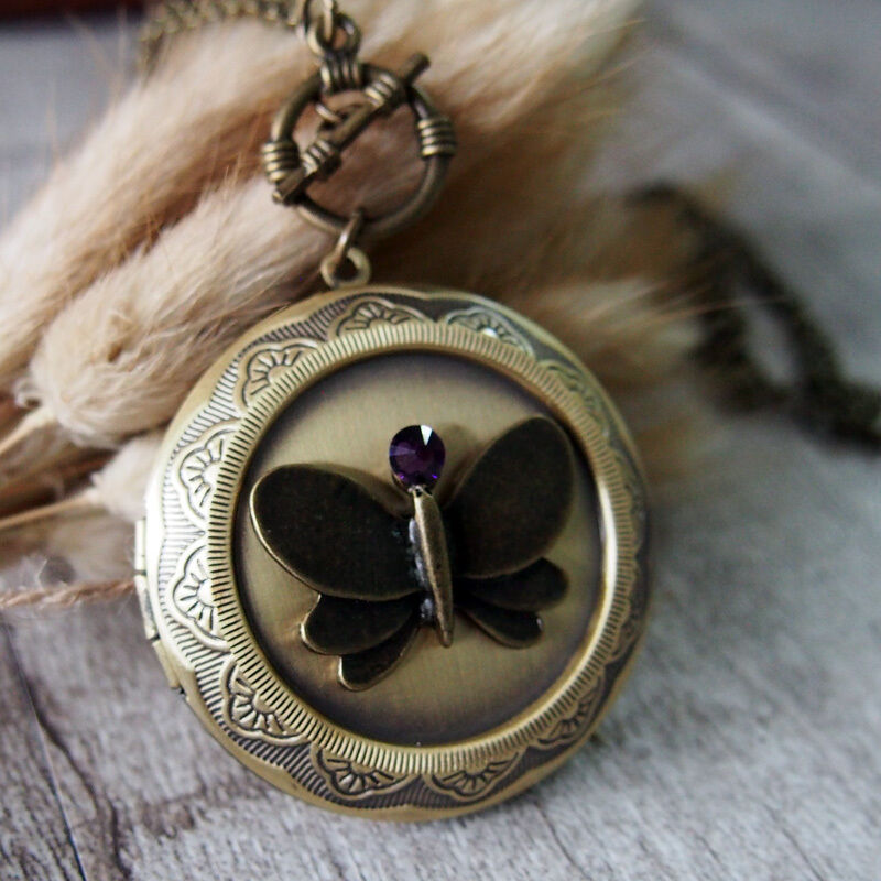 Amethyst Cameo Butterfly Vintage Brass Picture Locket Pendant Statement Necklace