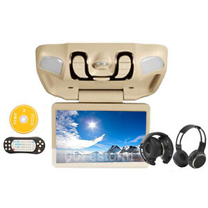 Beige-Car-Roof-Mount-Flip-Down-Overhead-15-LCD-DVD-Player-Games-IR-Headphones