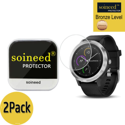 [2 Pack] SOINEED Tempered Glass Screen Protector Film For Garmin vivoactive 3