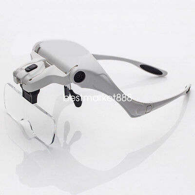 Double LED Helmet Headband Magnifying Glass With 5 Magnification Lens Best
