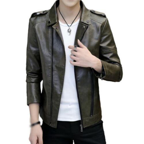 Men/'s Biker Long sleeve Faux Leather Jacket Slim Fit Motorcycle Outwear Casual L