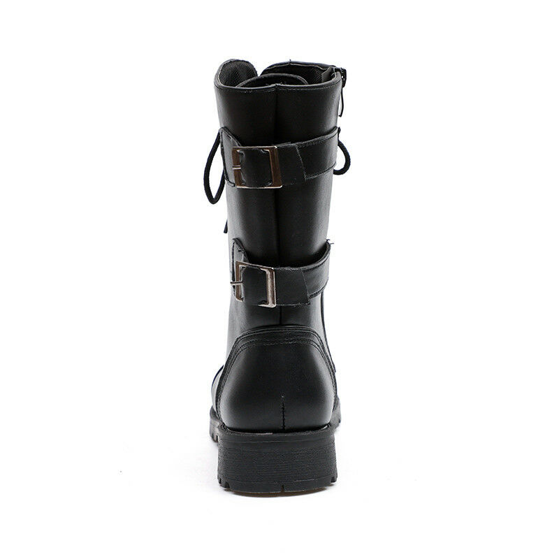 Womens Combat Ankle Boots Up Zipper Buckle Casual