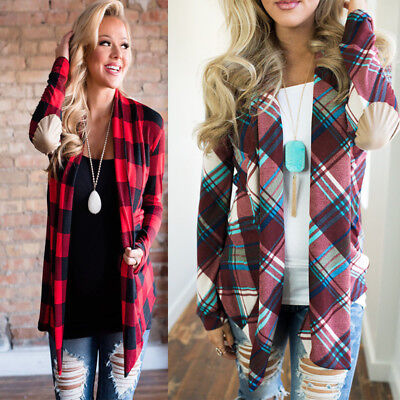 - Womens Flannel Plaid Long Sleeve Shirts Casual Loose Cardigan Blouse Jacket Tops