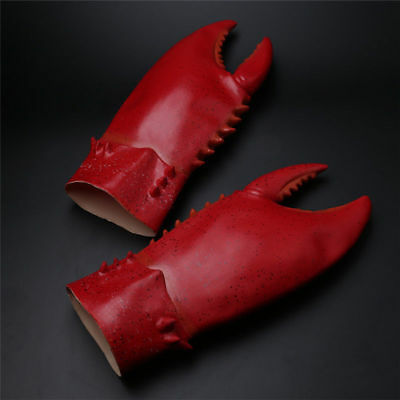 One Pair of Crab Lobster Claws Cosplay Hands Gloves Red Latex Gauntlet Props Toy