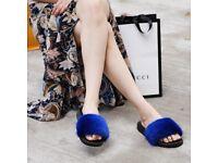 DAYMISFURRY -- Mink Fur Slippers-Dark Blue