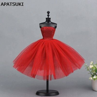 Red Short Ballet Dress For Barbie Doll Evening Dresses Clothes For Barbie Dolls