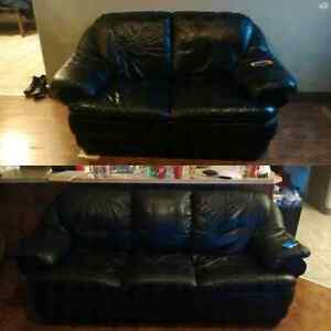 Real leather couch and love seat