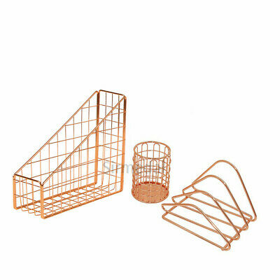 Rose Gold Desk Organizer Set 3pcs Desk Accessories Set Letter Sorter Pencil Hold
