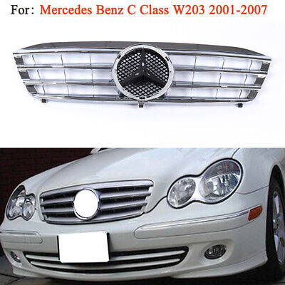 For Mercedes Benz C-Class 01-07 W203 Front Grill Black Chrome For C230 C320 C240