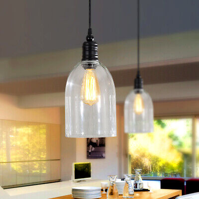 Homary Dome-Shape Clear Glass Shade Pendant Light Kitchen Island Hanging Lamp Clear Glass Chandelier Shade