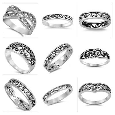 Scrolled Filigree Ring - NEW! FASHION Sterling Silver 925 SCROLL FILIGREE BAND DESIGN RING SIZES 4-10