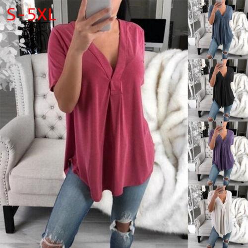 Womens Tunic Tops Short Sleeve V Neck Blouse T-Shirt Casual