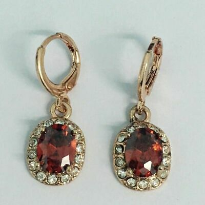 Pretty New 18K Rose Gold Plated Garnet Red & Crystal Mini Hoop Dangle Earrings 18 Red Mini Roses