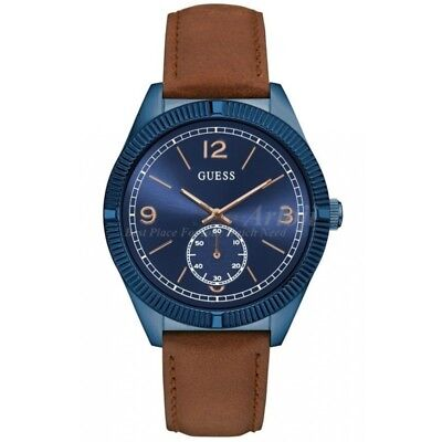 GUESS Men W0873G2 Dress Sport Leather Strap Blue Round Dial