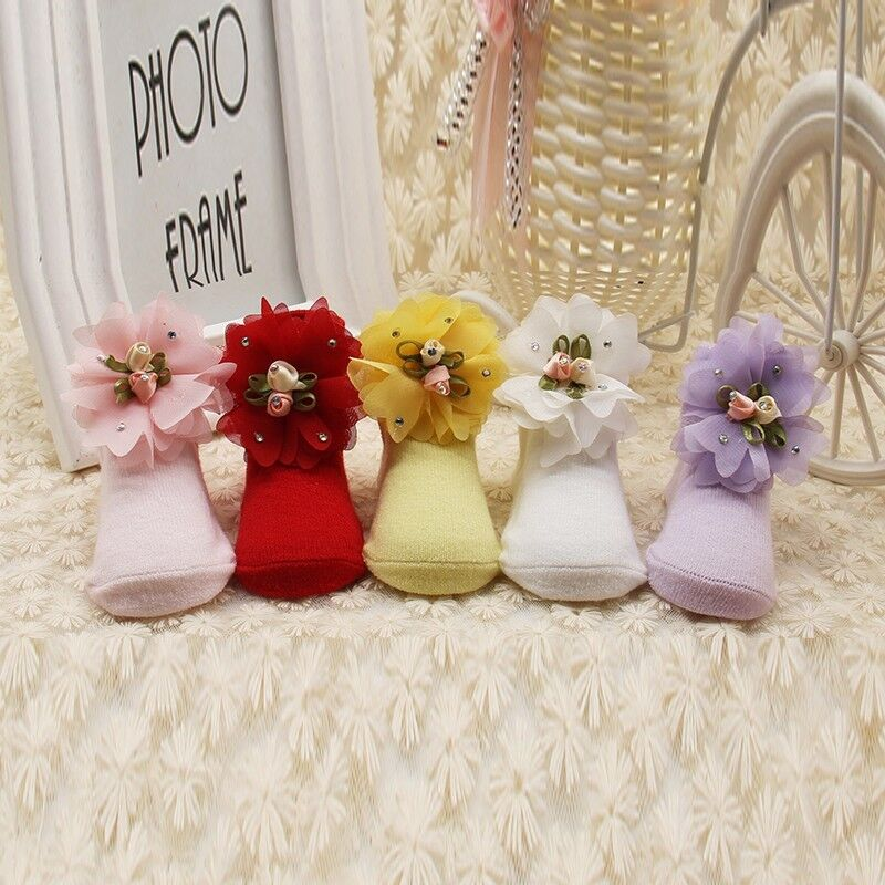 Infant Newborn Baby Girl Lace Flower Socks Warm Soft Slipper Soled Shoes 0-12M