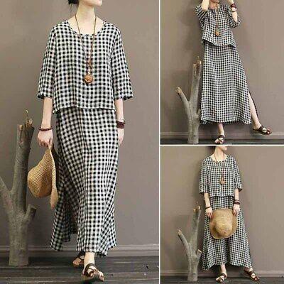 ZANZEA Women Round Neck Casual Plaid Check Shirt Dress Split Hem Maxi Dress Plus (Tartan Plaid Dress)