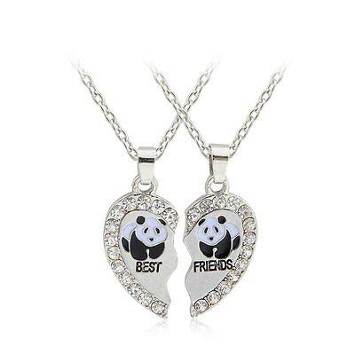 2Pcs/Set BEST FRIEND Panda Heart Crystal Pendants Necklace BFF Friendship Chain