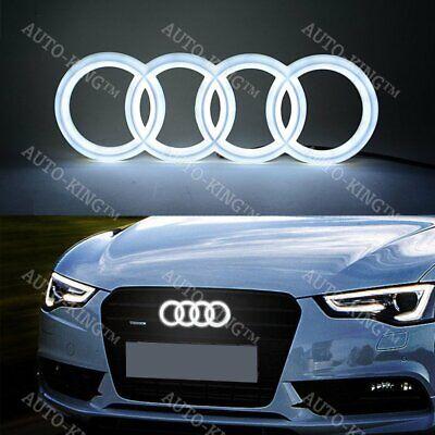 For Audi White Grill Grille Front Hood A3 A4 A5 A6 A7 Q3 Q5 Q7 LED Emblem 28CM