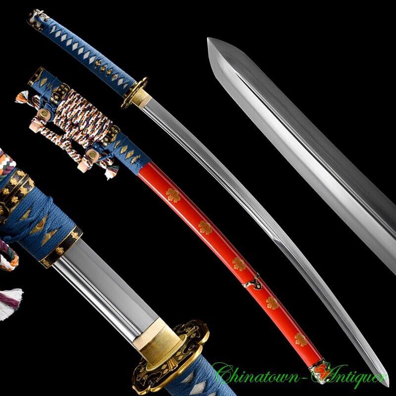 Japanese Tachi Sword Pattern Steel Kogarasu-Maru Blade Clay Tempered Sharp #2834