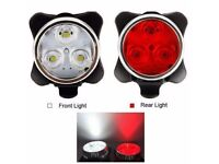 (1795) NEW, USB Rechargeable FRONT or REAR 3LED BIKE/BICYCLE FLASHLIGHT/LIGHT+MOUNT; WATER RESISTANT