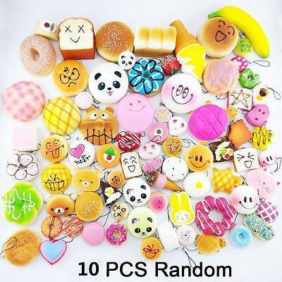10Pcs Jumbo Medium Soft Random Squishy Bread/Cake/Buns/Macaroon Phone Straps Lot