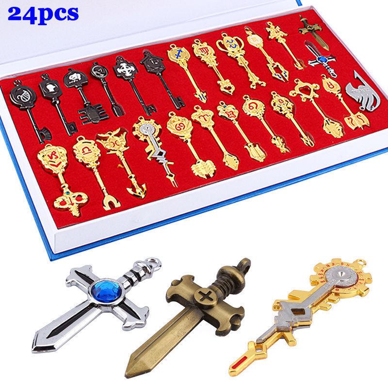 24pc/set Fairy Tail Lucy Cosplay Keys Necklace Keychain Kids Gift W/ Box