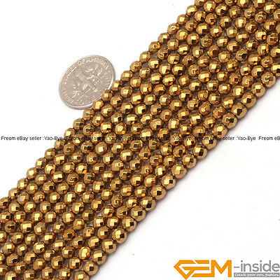 4mm Gold Metallic Coated Hematite Faceted Round Beads For Jewelry Making 15