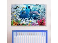 3D Stereoscopic Dolphin Fish Ocean Cartoon Colorful Wall Sticker Quote Decal
