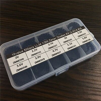 10value X50pcs 12w Ll34 Smd Zener Diode Assorted Kit Box 2v-5.6v