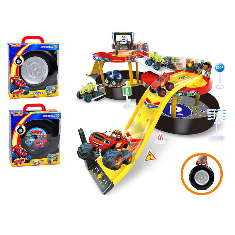 blaze and the monster machines vehicles diecast parking lot nickeloden kids toy. Black Bedroom Furniture Sets. Home Design Ideas