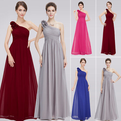 US Women Long One-shoulder Formal Wedding Party Dress Bridesmaid Prom Gown 08237
