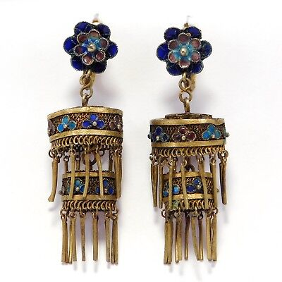ANTIQUE CHINESE SILVER CLOISONNE FILIGREE LANTERN EARRINGS