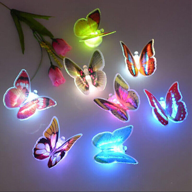 Home Decoration - 10pcs 3D Butterfly LED Wall Stickers Lights Home DIY Family Art Decoration Kids