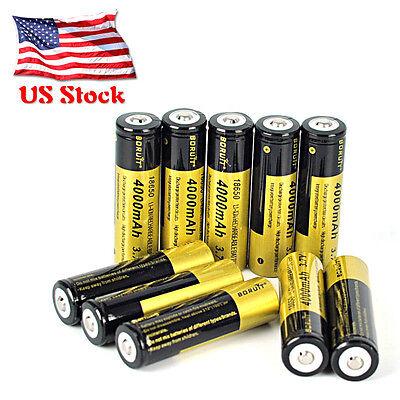 Boruit 10PCS 3.7V 4000mAh 18650 Li-ion Rechargeable Battery LED Flashlight Torch