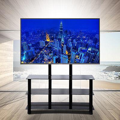 3 Tier Glass Shelf Storage Tv Stand Entertainment Center Media Console Black
