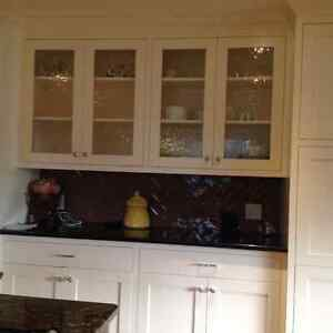 Large off white painted maple custom kitchen cabinets