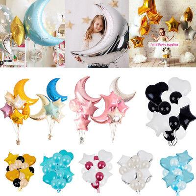 36''Moon 18''Star Heart Foil Balloon Birthday Wedding Party Helium Balloon Decor - 18 Birthday Party Decorations