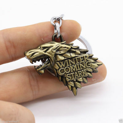 US! HBO Game of Thrones House Stark Head 3D Ring Gold Metal Keyring Keychain Toy