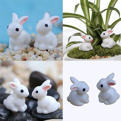 10 Miniature Rabbits Fairy Garden Terrarium Figurine Decor DIY Bonsai Craft Gift