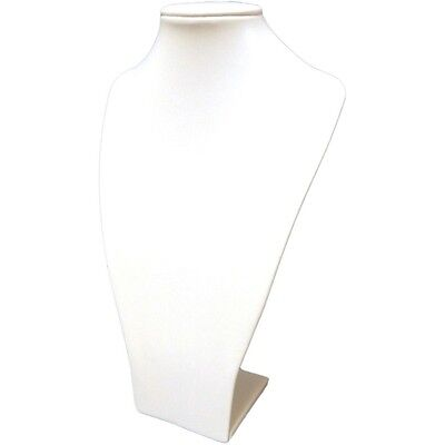 Ds-036 White Leatherette Long Bust Necklace Jewelry Display