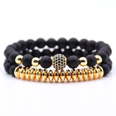 Beaded Crown (2018 Luxury Micro Pave CZ Ball Crown Charm Bracelet Men Jewelry Matte Agate)