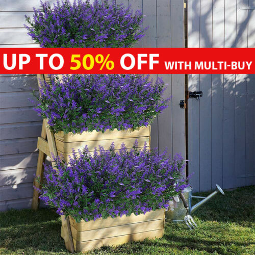 Home Decoration - Artificial Flowers Lavender Fake Plants UV Resistant Home Outdoor Garden Decor
