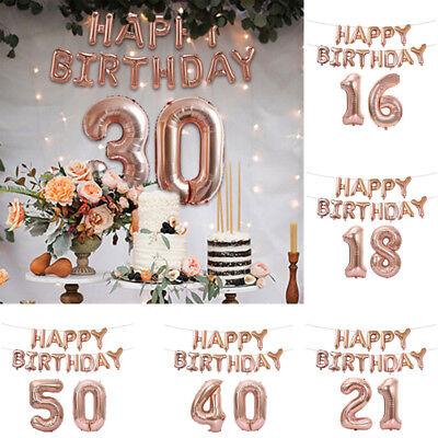 16th-60th Geburtstag Folienballon Luftballons Happy Birthday (Luftballons Gold)