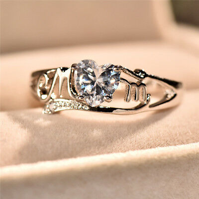 Exquisite Heart Cut White Topaz Mom Ring White Gold Mother's Gift Jewelry (Heart Mom Ring)