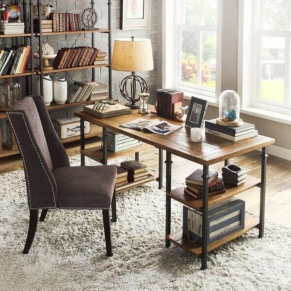 E 024 PO Solid Wood Office/Study/Writing Table w Bookshelves