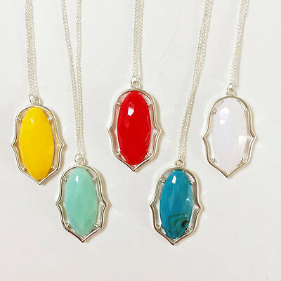 Fashion Oval Stone in Gold Silver Frame Drop Chandelier Pendant Long Necklace ()