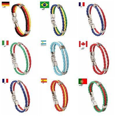 World Cup FIFA Soccer Fans National Flag Color Unisex Leather Bracelet 8 inch - Soccer Bracelet