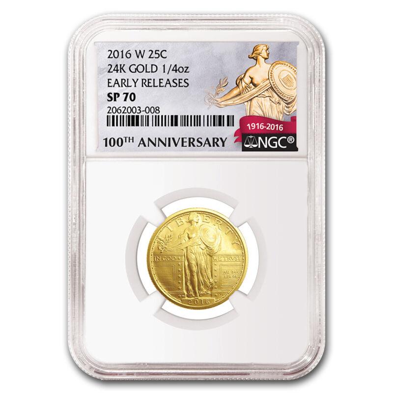 2016-w 1/4 Oz Gold Standing Liberty Quarter Sp-70 Ngc (er/fr) - Sku #95509